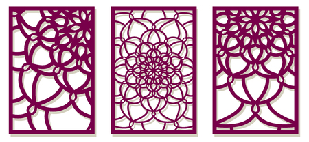 Set of Vector Laser cut panels. Pattern template for decorative panel. Wall vinyl art decor. Stock vector. Illustration