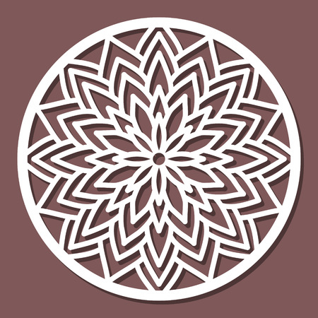 Vector Stencil lacy round ornament Mandala with carved openwork pattern. Template for interior design, decorative art objects etc.
