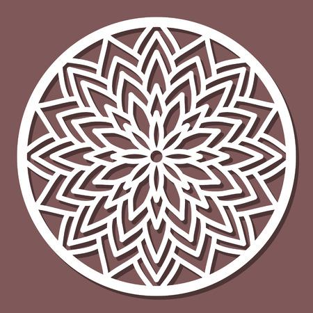 Vector Stencil lacy round ornament Mandala con motivo traforato intagliato. Modello per l'interior design, oggetti d'arte decorativa, ecc. Archivio Fotografico - 76713313