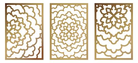 Set of Vector Laser cut panel. Pattern template for decorative panel. Wall vinyl art decor. Stock vector.