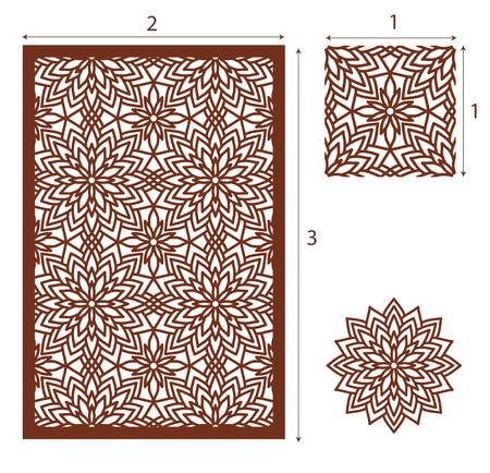Vector Laser cut panel, the seamless pattern for decorative panel. Image suitable for engraving, printing, plotter cutting, laser cutting paper, wood, metal, stencil manufacturing. Stock vector.