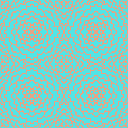 Abstract Seamless Pattern. Vintage Ornament Pattern peach on turquoise background. Ethnic decorative elements for print and cloth, fabrics and canvas texture or any other kind of design. Illustration