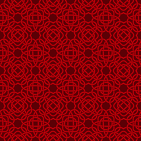Celtic seamless pattern in Medieval style. Red tangle on dark background. Endless repeat backdrop, texture, wallpaper. Stock vector