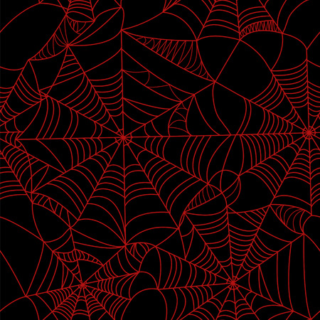 spider web: Halloween spider web Red on black background seamless pattern. Stock vector. Bloody background