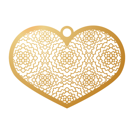 Stencil lacy heart with carved openwork pattern. Template for interior design, pendant, layouts wedding cards, invitations. Image suitable for laser cutting, plotter cutting or printing. Vector illustration.