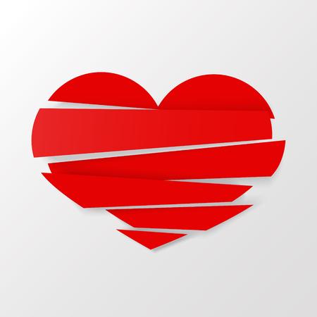 Vector rojo del corazón quebrado de las rayas en el fondo blanco. Podría ser utilizado como icono, signo, símbolo, bandera, etiqueta, insignia. Icono de vector Stock de imágenes prediseñadas.