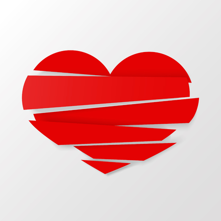Red Stripes broken heart vector on white background. Could be used as icon, sign, symbol, flag, sticker, badge. Vector icon. Stock clipart. Vettoriali