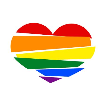 LGBT rainbow pride flag in a shape of Stripes broken heart on white background. Lesbian, gay, bisexual, and transgender 3d paper art heart. Vector illustration. Stock clipart. Illustration