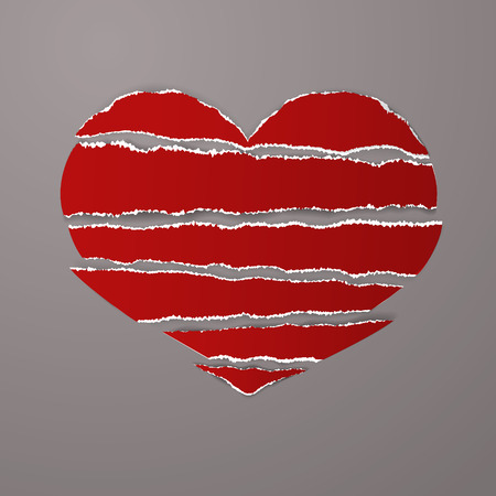 Red torn paper stripes with ragged uneven ragged edges in shape broken heart vector on gray background. Could be used for design poster, card, banner, advertising. Vector Stock clip art.