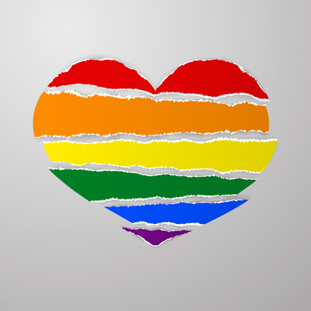 LGBT rainbow pride flag like torn paper stripes with ragged uneven ragged edges in shape broken heart vector on gray background. Template for postcards, posters, advertising, printing, web design. Vector Stock clip art.   Illustration
