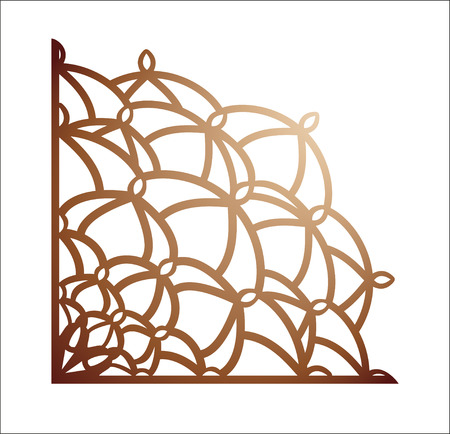 Laser cutting corner. Vector template for paper cutting, metal and woodcut. Tapestry panel. Jigsaw die cut ornament. Lacy cutout silhouette stencil. Fretwork floral pattern.