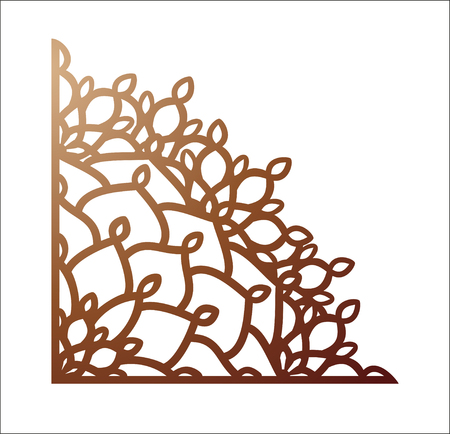 Laser cutting corner. Vector template for paper cutting, metal and woodcut.
