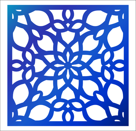 Laser cutting square panel. Fretwork floral pattern with mandala.