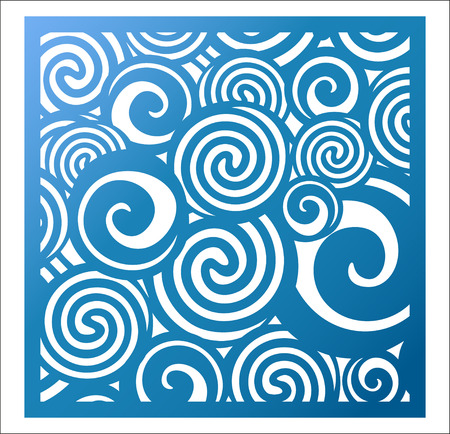 Laser cutting square panel. Fretwork abstract pattern with curly swirl circles. Favor or gift box silhouette ornament. Vector coaster design for paper cutting, metal and woodcut. Wall art deco.