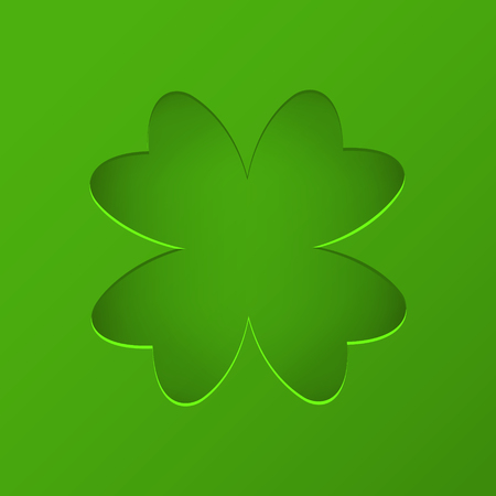 St Patricks day vector background with clover. Lucky spring symbol trendy paper cut style. Cut-out from paper shape of shamrock on green backgrounds stock vector. Illustration