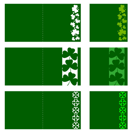 Set of Laser cutting clovers cards Vector template greeting card edge cut shamrock.
