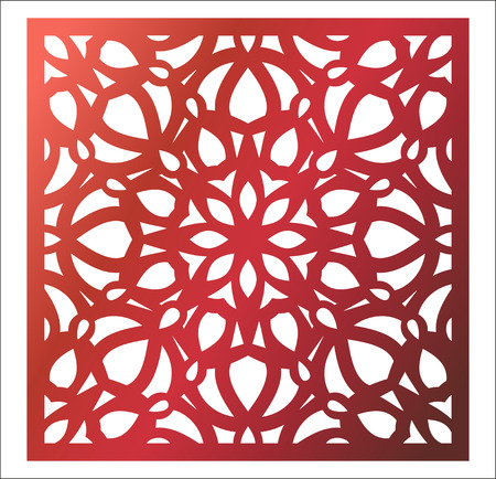 Laser cutting square panel. Openwork floral pattern with mandala.