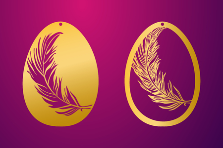 Ornamental easter egg with carved openwork feather pattern.