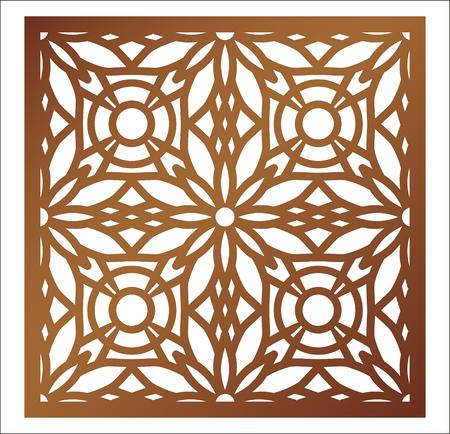 Panneau carré de découpe laser. Motif floral ajouré avec mandala. Parfait pour l'ornement de silhouette de boîte-cadeau, l'art mural, l'écran, la clôture de panneau, la cloison, la porte ou le dessous de verre. Modèle de conception de vecteur pour la découpe de papier, le bois, le métal et la gravure sur bois. Banque d'images - 97291128