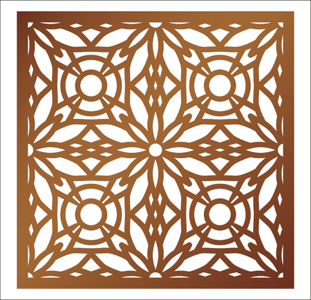 Laser cutting square panel. Openwork floral pattern with mandala. Perfect for gift box silhouette ornament, wall art, screen, panel fence, partition, gate  or coaster. Vector design template for paper cutting, wood, metal and woodcut.