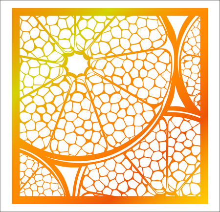 Laser cutting square panel. Openwork natural pattern with section of citrus fruit.
