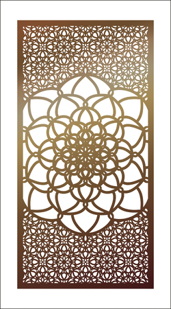 Vector template Laser cut panel. Openwork Pattern with mandala for decorative panel. Wall panels or partition. Jigsaw die cut ornaments. Lacy cutout silhouette stencils. Fretwork floral oriental patterns.