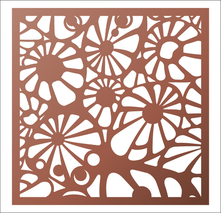 Laser cutting square panel. Abstract Openwork floral pattern.   Vector design template for cutting. Illustration