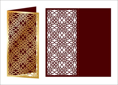Laser cut ornamental vector template. Luxury Greeting card, envelope or wedding invitation card template. Die cut paper card with openwork ornament. Cut Out paper card. Ornamental embellishment. Ilustracja