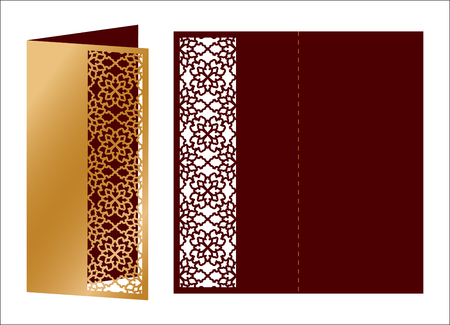 Laser cut ornamental vector template. Luxury greeting card, envelope or wedding invitation card template. Die cut paper card with openwork ornament cut out paper card ornamental embellishment. Banco de Imagens - 97788351