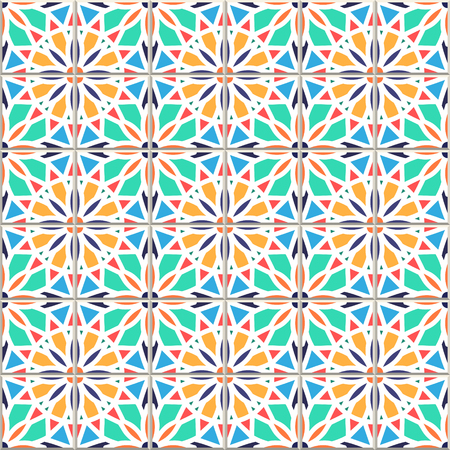 Based on traditional wall and floor tiles Mediterranean style vector seamless pattern. Mosaic patchwork design, Mexican, Italian, Spanish, Moroccan, Portuguese, Turkish, Lisbon, Arabic, Indian motifs. Ilustração