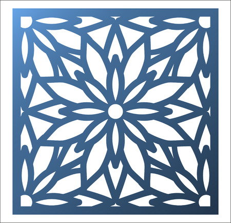 Laser cutting square panel. Openwork floral pattern with mandala. Perfect for gift box silhouette ornament, wall art, screen, panel fence, partition, gate or coaster. Vector design template for cutting