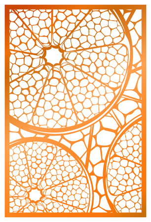 Vector Laser cut panel. Abstract natural Pattern with section of citrus fruit template for decorative panel. Template for interior design, layouts wedding invitations, gritting cards, envelopes