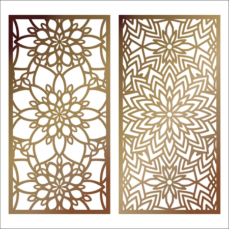 Set of Vector Laser cut panel. Pattern template for decorative panel. Wall panels or partition. Jigsaw die cut ornaments. Lacy cutout silhouette stencils. Fretwork floral patterns with mandala Illustration