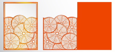 Vector Laser cut template card. Abstract natural Pattern with section of citrus fruits.