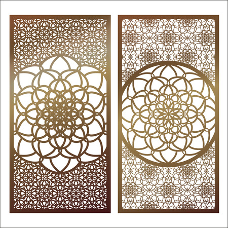 Set of Vector Laser cut panel. Pattern template for decorative panel. Wall panels or partition. Jigsaw die cut ornaments. Lacy cutout silhouette stencils. Fretwork floral patterns with mandala Vettoriali