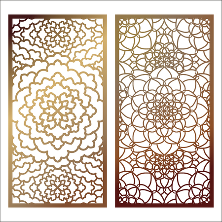 Set of Vector Laser cut panel. Pattern template for decorative panel. Wall panels or partition. Jigsaw die cut ornaments. Lacy cutout silhouette stencils. Fretwork floral patterns with mandala 向量圖像