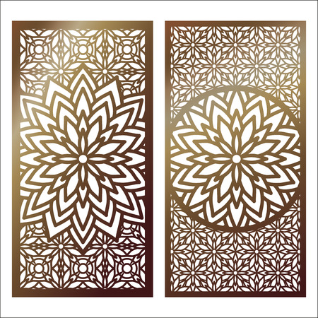 Set of golden laser cut panel with decorative floral designs.