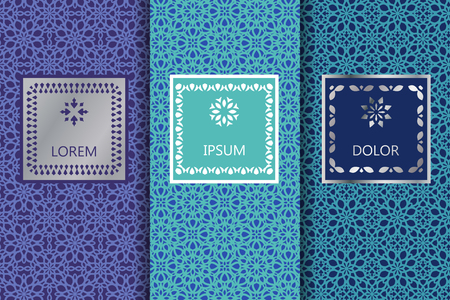 Set of blue seamless patterns background. Vector illustration for elegant design. Abstract geometric East Ornament Pattern. Stylish decorative labels with emblem and frame. Fashion universal background Stock Illustratie