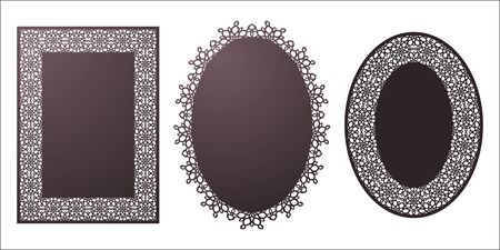 Set of vector Stencil lacy oval and rectangle frames with carved openwork pattern.