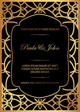 Stylish Gold and Black Wedding Card. Royal Vintage Wedding Invitation template. Save the date card. Trendy design with geometric background. Tradition decoration for wedding. Vector illustration.