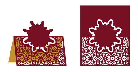 Laser cut ornamental vector template. Freestanding table Number, Name, Place, Wedding seats card, Table guests or dining table card, Escort card. Cut Out paper map for laser cutting Illustration