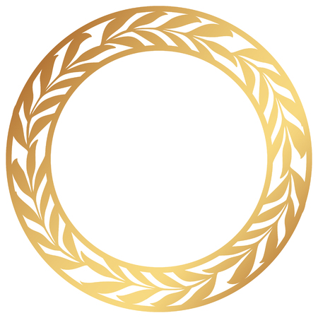 Vector Stencil lacy round frame with carved openwork pattern with olive branches. Golden Wreath of leaves.