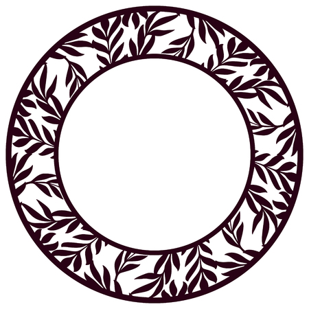 Vector Stencil lacy round frame with carved floral openwork pattern with leaves. Lace-bordered  circle template for interior design, layouts wedding cards. Golden stylized olive branches pattern. Vectores