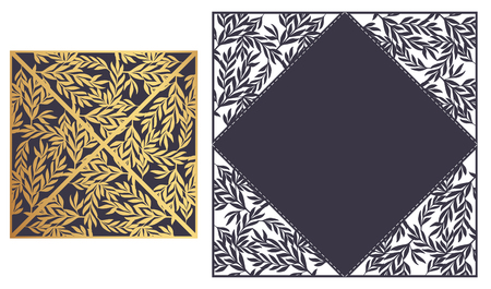 Laser cut ornamental Lace-bordered vector template. Luxury Greeting card, envelope or wedding invitation card template. Four triangular flaps that fold over the square card.  Ornamental embellishment