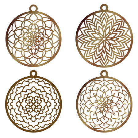 A set of laser cut openwork christmas decoration vector design. Laser cutting template for xmas tree. Merry Christmas decoration symbol for  cutting paper, wood and metal. Tree ball with lace pattern.