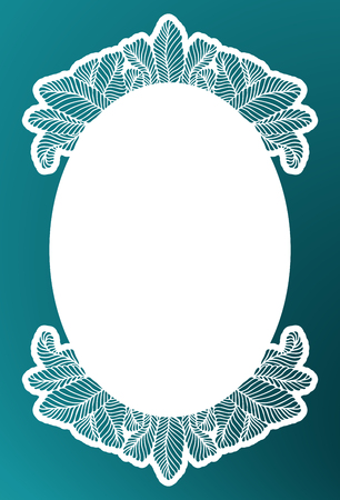 Vector stencil lace oval frame with carved openwork pattern with tropic leaves. Laser cut template for interior design, layouts wedding invitations, greeting cards, decorative art objects etc.