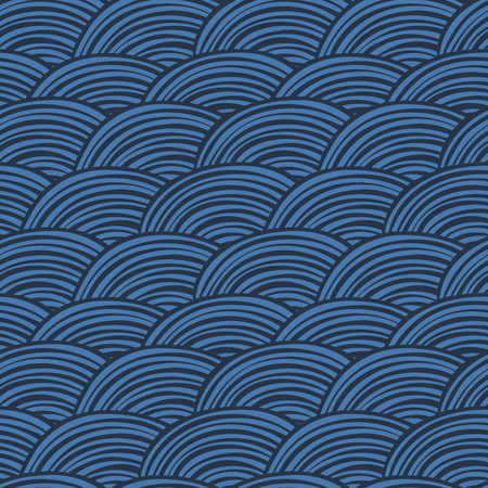 Vector seamless pattern. Decorative abstract hand drawn doodle ornamental sketchy background in blue shades. Repeating trendy print for print and cloth.