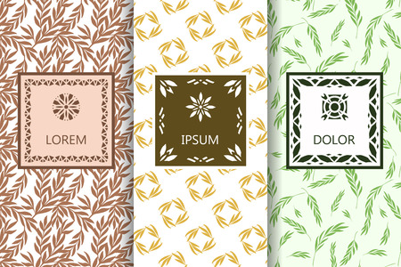 Vector set of packaging design templates, seamless patterns and frames with copy space for text. Wrapping paper, print textile, wallpaper desing
