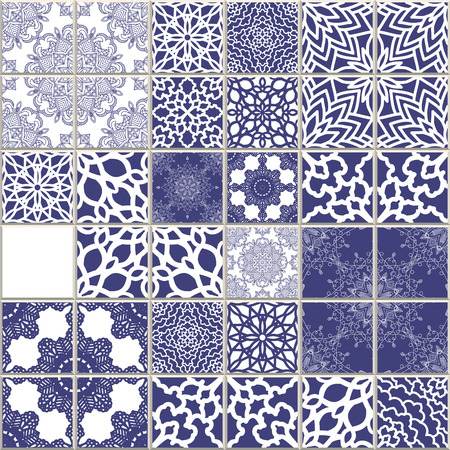 Vector Mosaic Seamless Pattern, Patchwork Multicolour Tile. Boho, Provance, Shabby Chik, Vintage style. Mediterranean blue and white colors marine motive Vettoriali