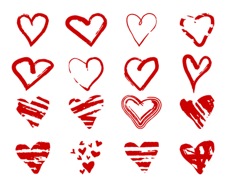 Set of hand drawn grunge hearts for design use.  Sketch elements on white background. Abstract brush, ink, marker, pencil drawing. Vector icon. Stock clipart.